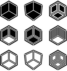 3d isometric empty room corner symbol vector image vector image