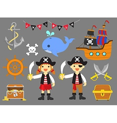 Ahoy Matey Summer Fun Pirate Children Clip Art vector image vector image