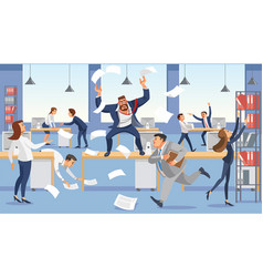 angry boss shout in chaos office vector image