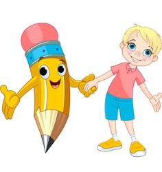 Boy and pencil vector image vector image