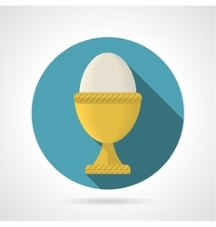 Flat color icon for boiled egg vector image vector image
