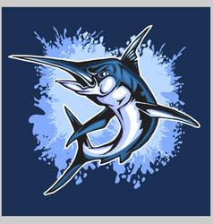realistic blue marlin fish vector image