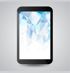 black modern gadget with blue polygonal background vector image vector image