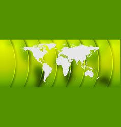 bright green abstract background with world map vector image vector image