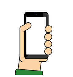 hand holding mobile vector image vector image