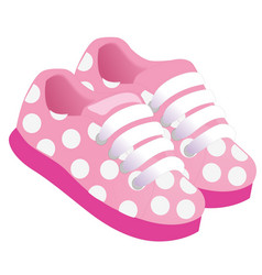 Pink childrens or young adult shoes pair kids vector