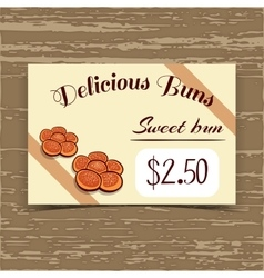 Price Tag Design Sweet Buns vector image vector image