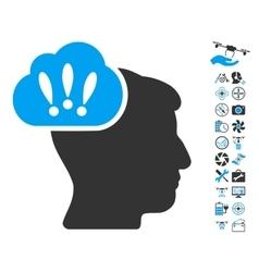 Problem Brainstorm Icon With Air Drone Tools Bonus vector image vector image