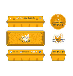 template label for egg packaging vector image vector image