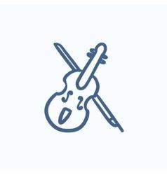 Violin with bow sketch icon vector image vector image
