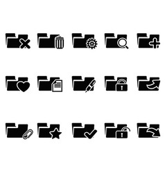 black file folder icons set vector image