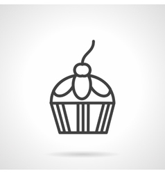 Confection black line icon Berry cupcake vector image