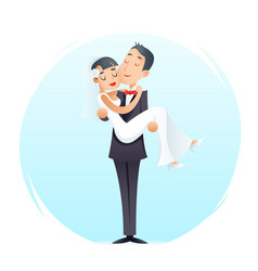groom holds cute bride on arms vintage happy vector image vector image