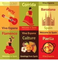 Spain retro posters set vector image vector image
