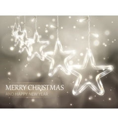 Christmas background of de-focused lights with vector image
