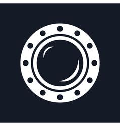 Round Ship Porthole Isolated on Black Background vector image