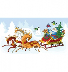 Santa Claus and the horses vector image