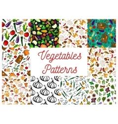 Vegetables herbs mushrooms seamless patterns set vector image vector image