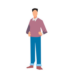 young manager in sweater and jeans vector image