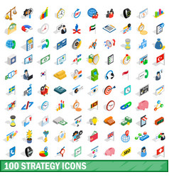 100 strategy icons set isometric 3d style vector image