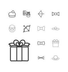 13 bow icons vector