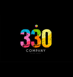 330 number grunge color rainbow numeral digit logo vector image