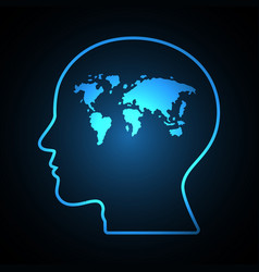 Abstract world map human head vector