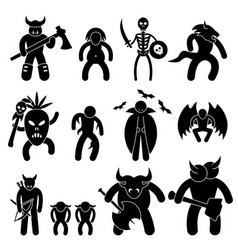 ancient warrior character for evil league icon vector image