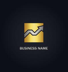 arrow growth business gold logo vector image