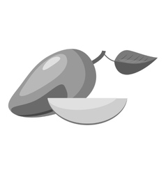 Avocado icon gray monochrome style vector