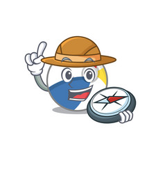 Beach ball experienced explorer using a compass vector