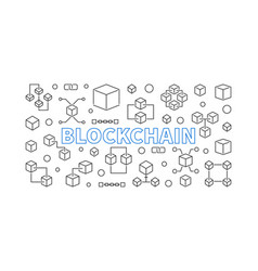 Blockchain outline block vector