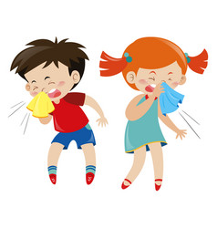 Boy and girl having cold vector