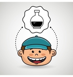 Boy cartoon cap icon vector