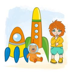 boy space children dream game cartoon vector image