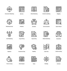 Business and finance line icons 9 vector