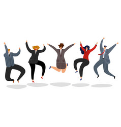 business people jumping excited happy employees vector image