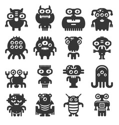 cartoon monsters icons set on white background vector image
