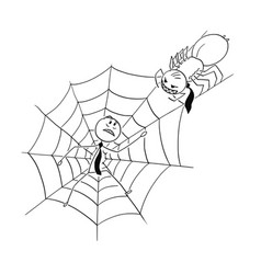 Cartoon of businessman trapped by spider in web vector