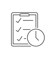 checklist with clock outline icon on white vector image