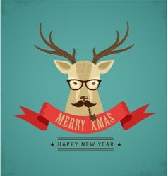 Christmas background with hipster deer and ribbon vector image vector image