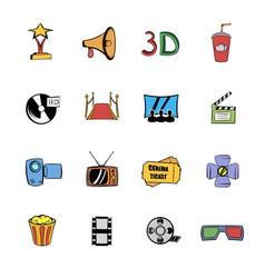Cinema comics icons set cartoon vector