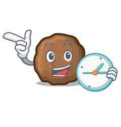 Clock meatball character cartoon style vector