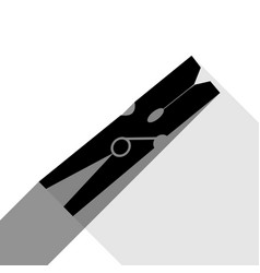 Clothes peg sign black icon with two flat vector