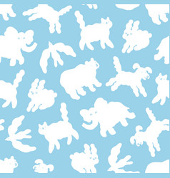 cloud animals in sky cartoon pattern vector image