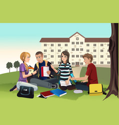 college students studying outdoor vector image