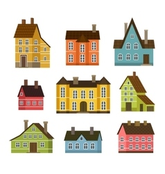 Colorful residential house set in flat design vector