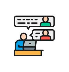 Communication between team members flat color line vector