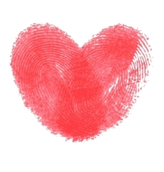 Creative poster with double fingerprint heart vector image