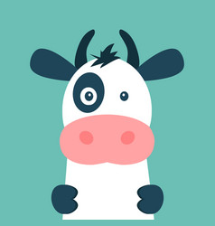 cute cow isolated on blue background vector image